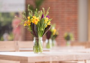 Seasonal floral decorations at The Grange Restaurant