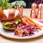 Vegan spiced beetroot, quinoa and bean burger