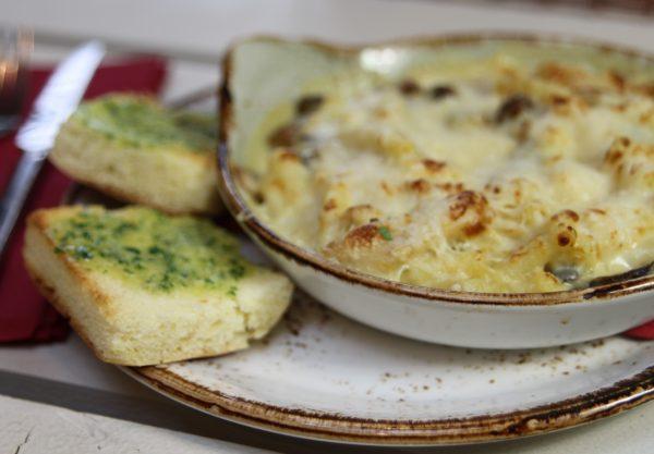 Truffled macaroni cheese with sauteed wild mushrooms