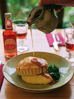 The Grange chicken, bacon and leek pie served with mash, tenderstem brocolli and gravy