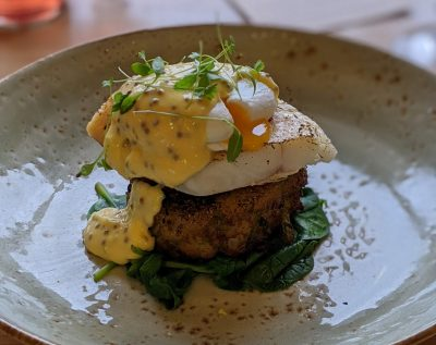 The Grange smoked haddock bubble & squeak with soft poached egg, spinach and wholegrain mustard hollandaise